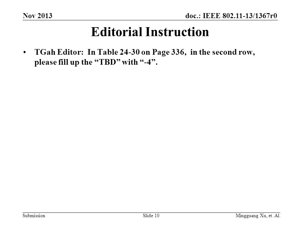 doc.: IEEE 802.11-13/1367r0 Submission Editorial Instruction TGah Editor: In Table 24-30 on Page 336, in the second row, please fill up the TBD with -4 .
