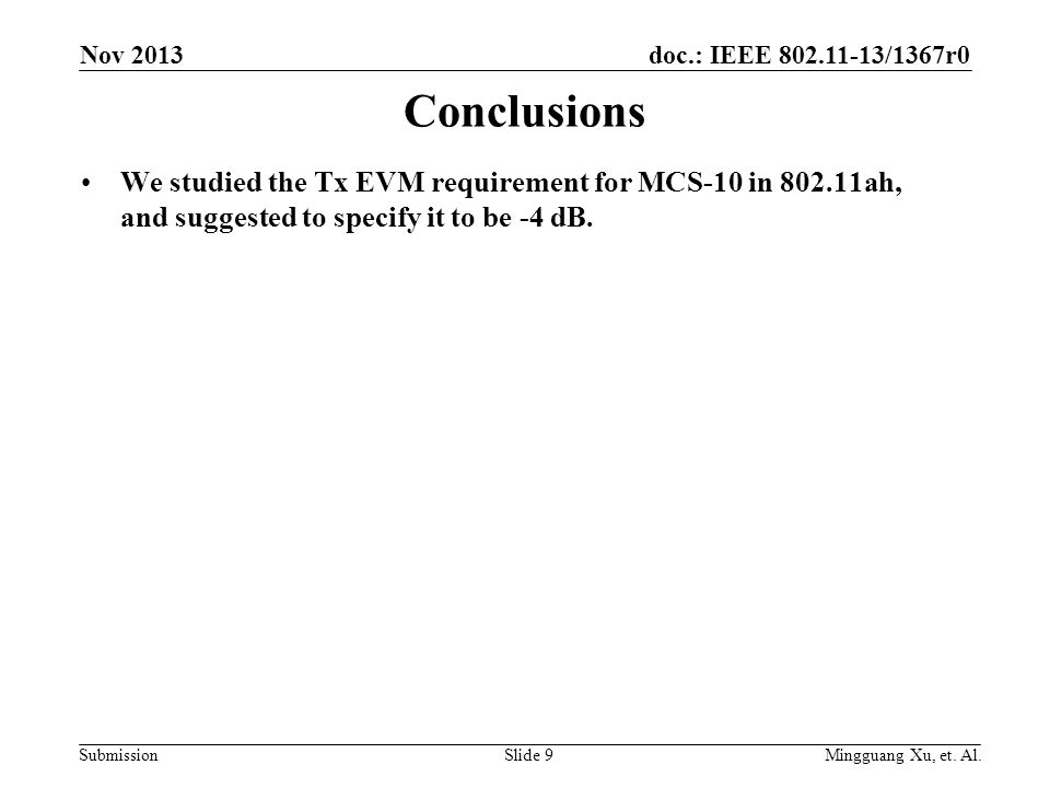doc.: IEEE 802.11-13/1367r0 Submission Conclusions We studied the Tx EVM requirement for MCS-10 in 802.11ah, and suggested to specify it to be -4 dB.