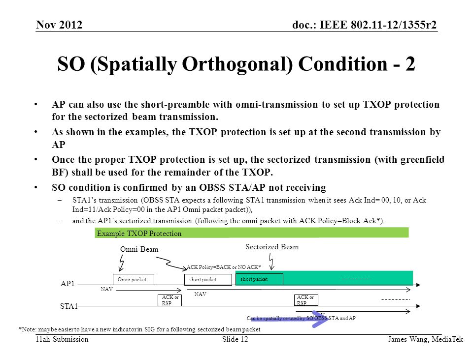 doc.: IEEE /1355r2 11ah Submission SO (Spatially Orthogonal) Condition - 2 AP can also use the short-preamble with omni-transmission to set up TXOP protection for the sectorized beam transmission.