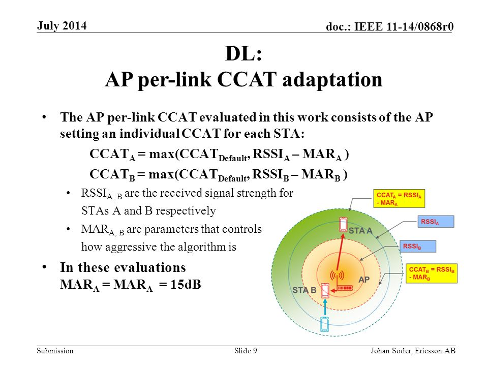 Submission doc.: IEEE 11-14/0868r0 The AP per-link CCAT evaluated in this work consists of the AP setting an individual CCAT for each STA: CCAT A = max(CCAT Default, RSSI A – MAR A ) CCAT B = max(CCAT Default, RSSI B – MAR B ) RSSI A, B are the received signal strength for STAs A and B respectively MAR A, B are parameters that controls how aggressive the algorithm is In these evaluations MAR A = MAR A = 15dB DL: AP per-link CCAT adaptation July 2014 Johan Söder, Ericsson ABSlide 9