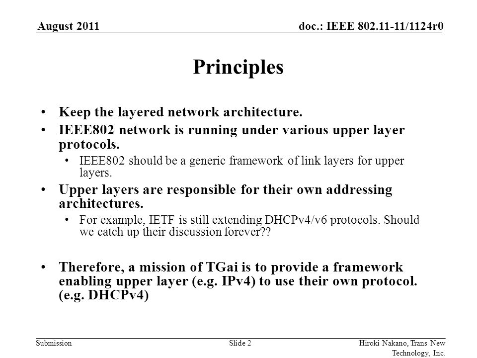 Submission doc.: IEEE 802.11-11/1124r0August 2011 Hiroki Nakano, Trans New Technology, Inc.