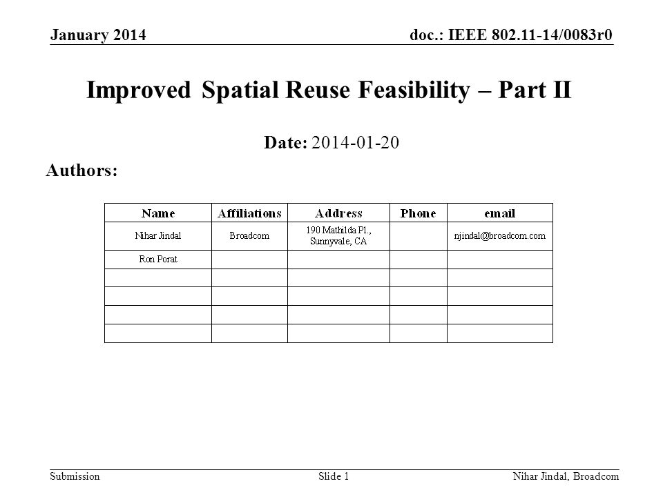 doc.: IEEE /0083r0 Submission January 2014 Nihar Jindal, Broadcom Improved Spatial Reuse Feasibility – Part II Date: Authors: Slide 1