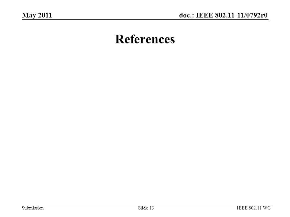 doc.: IEEE 802.11-11/0792r0 Submission May 2011 IEEE 802.11 WGSlide 13 References