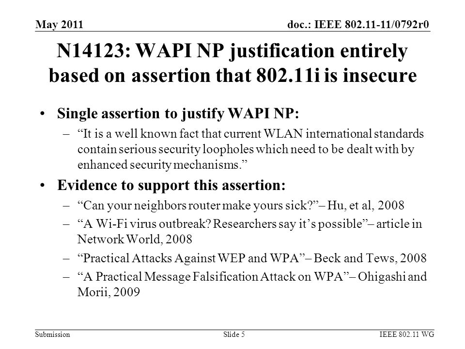 doc.: IEEE 802.11-11/0792r0 Submission May 2011 IEEE 802.11 WGSlide 5 N14123: WAPI NP justification entirely based on assertion that 802.11i is insecure Single assertion to justify WAPI NP: – It is a well known fact that current WLAN international standards contain serious security loopholes which need to be dealt with by enhanced security mechanisms. Evidence to support this assertion: – Can your neighbors router make yours sick – Hu, et al, 2008 – A Wi-Fi virus outbreak.