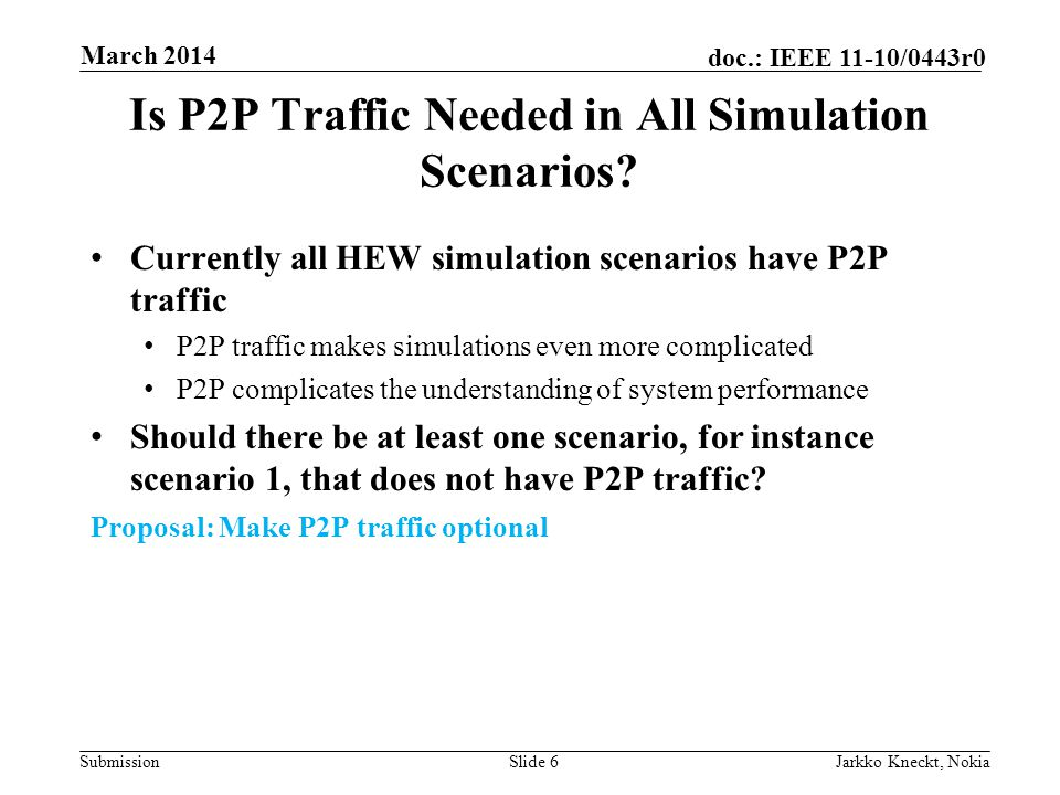 Submission doc.: IEEE 11-10/0443r0 Is P2P Traffic Needed in All Simulation Scenarios.