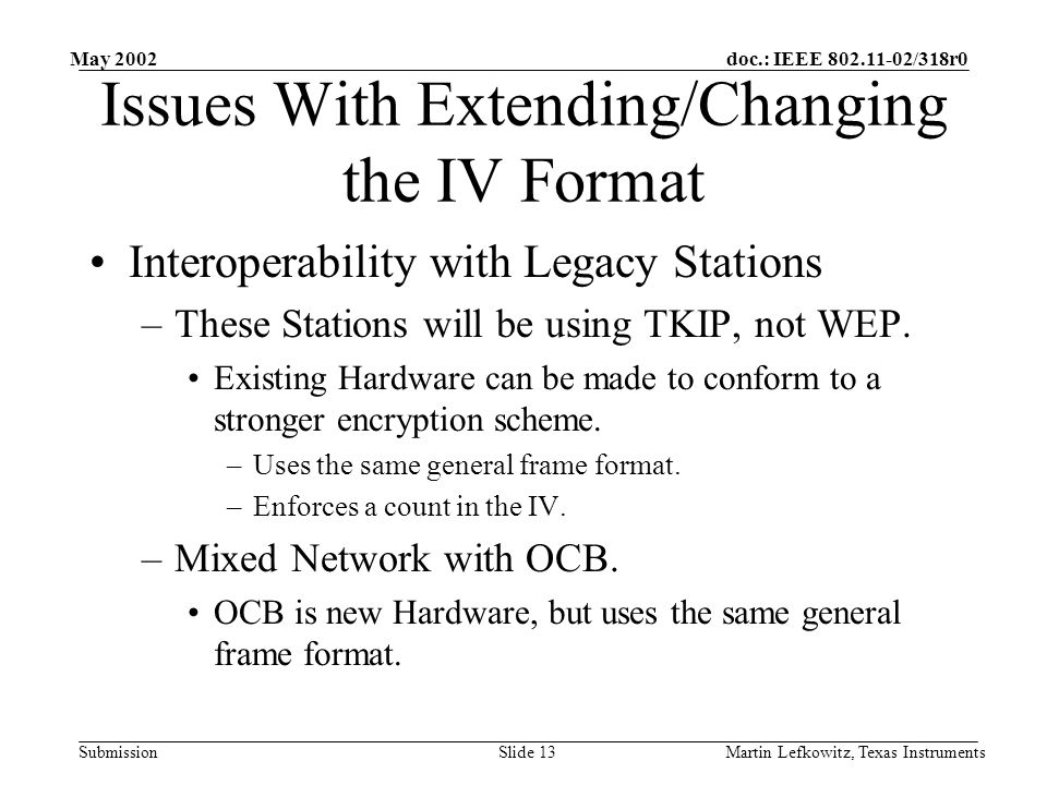 doc.: IEEE 802.11-02/318r0 Submission May 2002 Martin Lefkowitz, Texas InstrumentsSlide 13 Issues With Extending/Changing the IV Format Interoperability with Legacy Stations –These Stations will be using TKIP, not WEP.