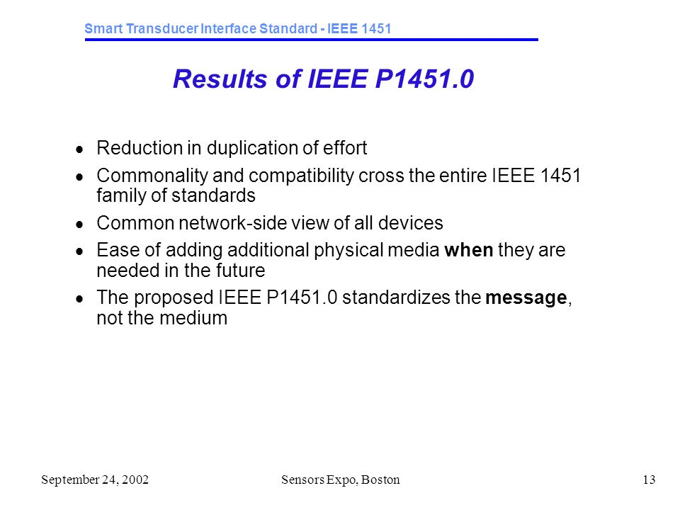 Smart Transducer Interface Standard - IEEE 1451 September 24, 2002Sensors Expo, Boston13 Results of IEEE P1451.0  Reduction in duplication of effort  Commonality and compatibility cross the entire IEEE 1451 family of standards  Common network-side view of all devices  Ease of adding additional physical media when they are needed in the future  The proposed IEEE P1451.0 standardizes the message, not the medium