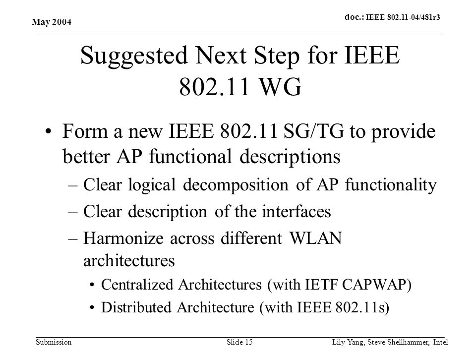 doc.: IEEE 802.11-04/481r3 Submission May 2004 Lily Yang, Steve Shellhammer, IntelSlide 15 Suggested Next Step for IEEE 802.11 WG Form a new IEEE 802.11 SG/TG to provide better AP functional descriptions –Clear logical decomposition of AP functionality –Clear description of the interfaces –Harmonize across different WLAN architectures Centralized Architectures (with IETF CAPWAP) Distributed Architecture (with IEEE 802.11s)