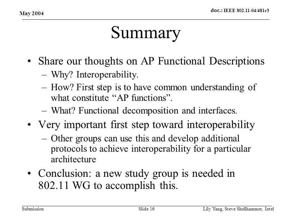 doc.: IEEE 802.11-04/481r3 Submission May 2004 Lily Yang, Steve Shellhammer, IntelSlide 16 Summary Share our thoughts on AP Functional Descriptions –Why.