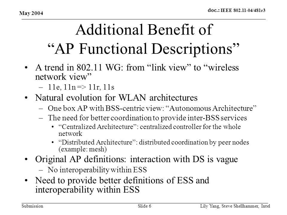 doc.: IEEE 802.11-04/481r3 Submission May 2004 Lily Yang, Steve Shellhammer, IntelSlide 6 Additional Benefit of AP Functional Descriptions A trend in 802.11 WG: from link view to wireless network view –11e, 11n => 11r, 11s Natural evolution for WLAN architectures –One box AP with BSS-centric view: Autonomous Architecture –The need for better coordination to provide inter-BSS services Centralized Architecture : centralized controller for the whole network Distributed Architecture : distributed coordination by peer nodes (example: mesh) Original AP definitions: interaction with DS is vague –No interoperability within ESS Need to provide better definitions of ESS and interoperability within ESS