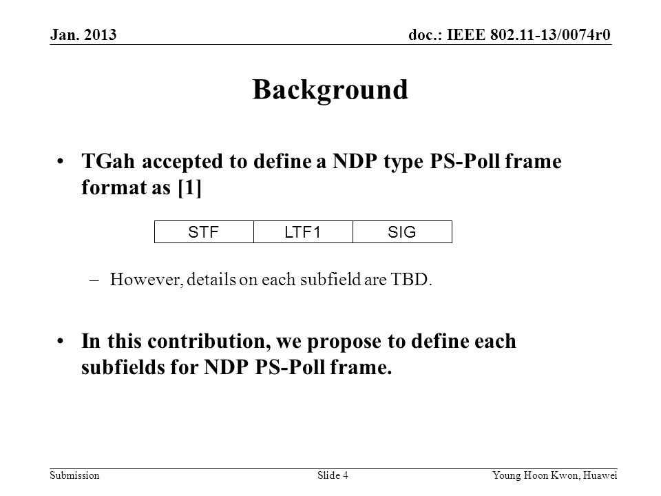 doc.: IEEE /0074r0 Submission Background TGah accepted to define a NDP type PS-Poll frame format as [1] –However, details on each subfield are TBD.
