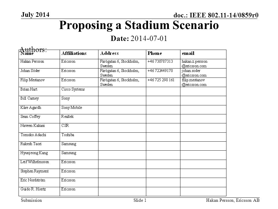 Submission doc.: IEEE /0859r0 July 2014 Hakan Persson, Ericsson ABSlide 1 Proposing a Stadium Scenario Date: Authors: