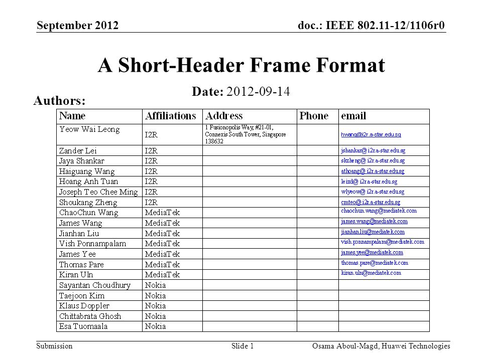 doc.: IEEE /1106r0 Submission September 2012 Osama Aboul-Magd, Huawei TechnologiesSlide 1 A Short-Header Frame Format Date: Authors: