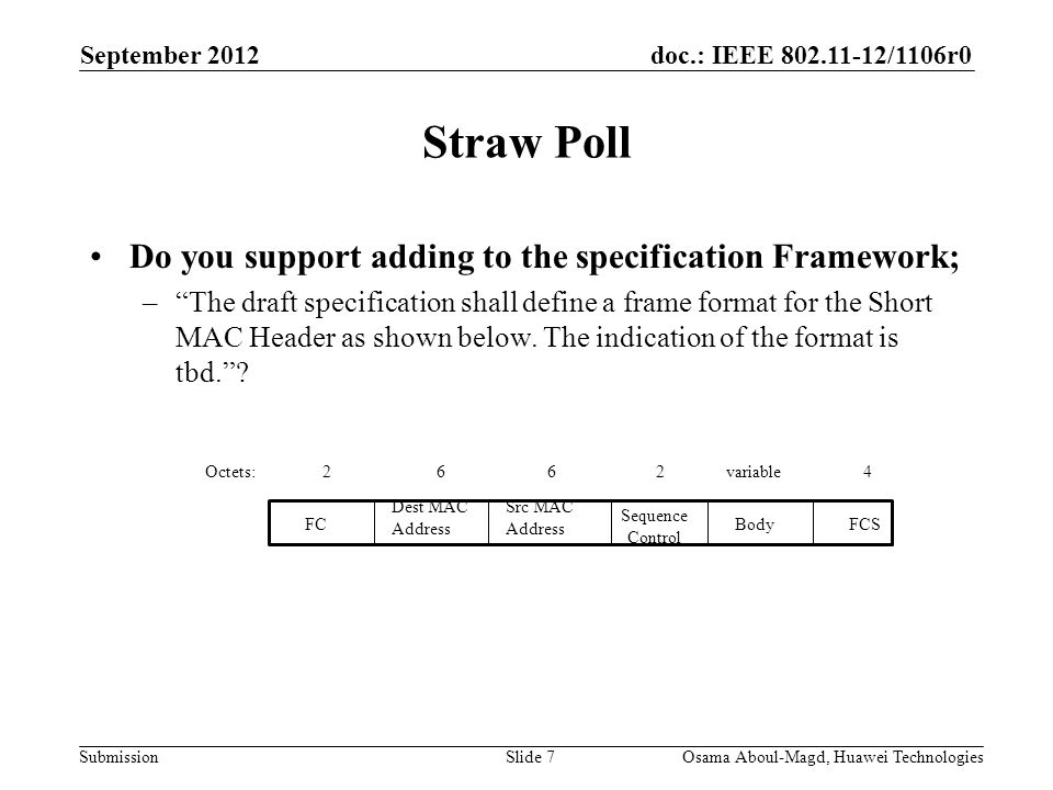 doc.: IEEE /1106r0 Submission Straw Poll Do you support adding to the specification Framework; – The draft specification shall define a frame format for the Short MAC Header as shown below.