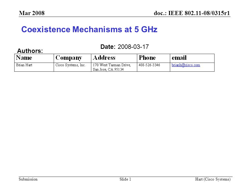 doc.: IEEE 802.11-08/0315r1 Submission Mar 2008 Hart (Cisco Systems) Slide 1 Coexistence Mechanisms at 5 GHz Date: 2008-03-17 Authors: