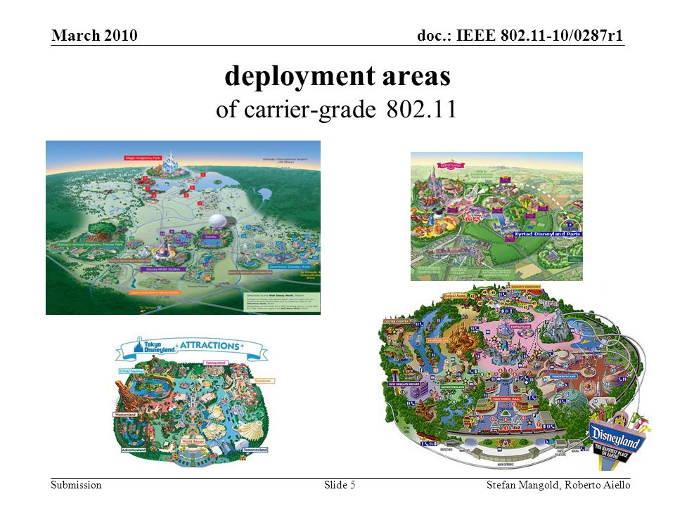 doc.: IEEE 802.11-10/0287r1 Submission deployment areas of carrier-grade 802.11 March 2010 Stefan Mangold, Roberto AielloSlide 5