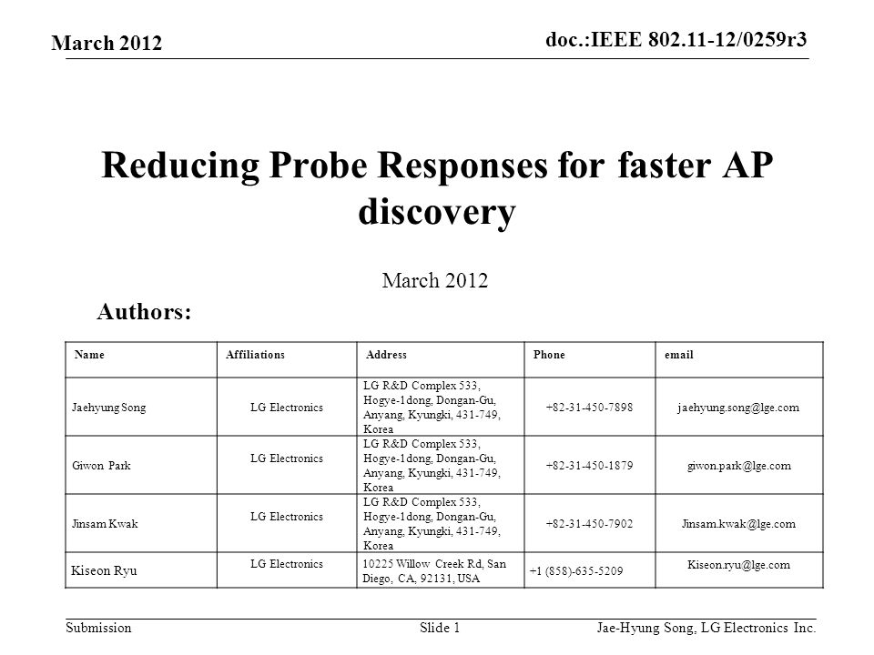 doc.:IEEE 802.11-12/0259r3 Submission March 2012 Reducing Probe Responses for faster AP discovery Slide 1 Authors: March 2012 NameAffiliationsAddressPhoneemail Jaehyung SongLG Electronics LG R&D Complex 533, Hogye-1dong, Dongan-Gu, Anyang, Kyungki, 431-749, Korea +82-31-450-7898jaehyung.song@lge.com Giwon Park LG Electronics LG R&D Complex 533, Hogye-1dong, Dongan-Gu, Anyang, Kyungki, 431-749, Korea +82-31-450-1879giwon.park@lge.com Jinsam Kwak LG Electronics LG R&D Complex 533, Hogye-1dong, Dongan-Gu, Anyang, Kyungki, 431-749, Korea +82-31-450-7902Jinsam.kwak@lge.com Kiseon Ryu LG Electronics10225 Willow Creek Rd, San Diego, CA, 92131, USA +1 (858)-635-5209 Kiseon.ryu@lge.com Jae-Hyung Song, LG Electronics Inc.