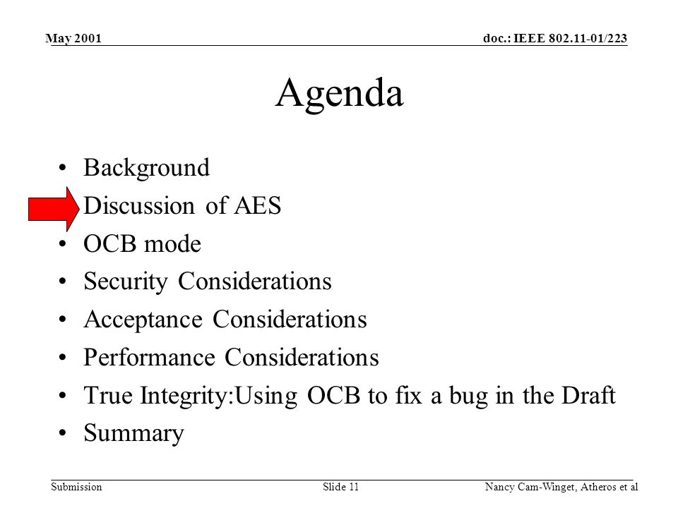 doc.: IEEE 802.11-01/223 Submission May 2001 Nancy Cam-Winget, Atheros et alSlide 11 Agenda Background Discussion of AES OCB mode Security Considerations Acceptance Considerations Performance Considerations True Integrity:Using OCB to fix a bug in the Draft Summary