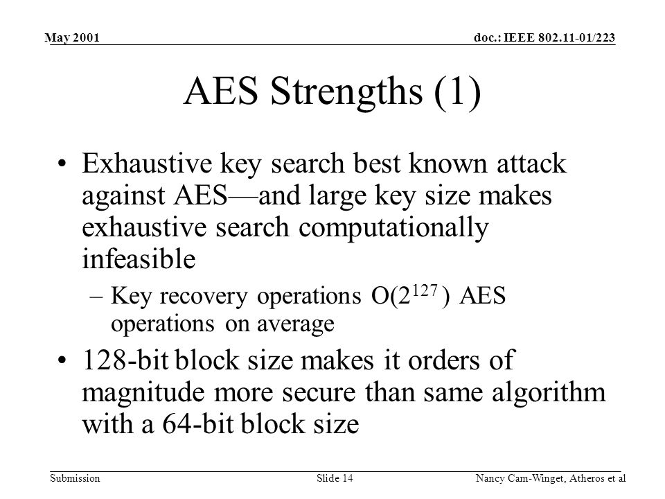 doc.: IEEE 802.11-01/223 Submission May 2001 Nancy Cam-Winget, Atheros et alSlide 14 AES Strengths (1) Exhaustive key search best known attack against AES—and large key size makes exhaustive search computationally infeasible –Key recovery operations O(2 127 ) AES operations on average 128-bit block size makes it orders of magnitude more secure than same algorithm with a 64-bit block size