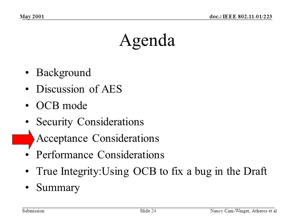 doc.: IEEE 802.11-01/223 Submission May 2001 Nancy Cam-Winget, Atheros et alSlide 24 Agenda Background Discussion of AES OCB mode Security Considerations Acceptance Considerations Performance Considerations True Integrity:Using OCB to fix a bug in the Draft Summary