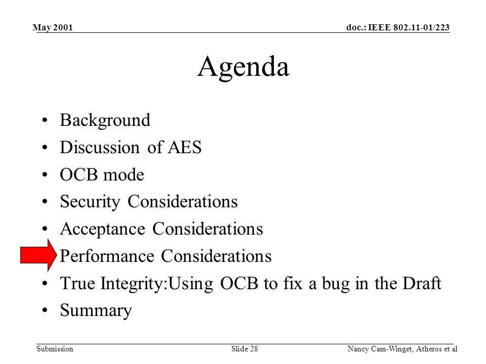 doc.: IEEE 802.11-01/223 Submission May 2001 Nancy Cam-Winget, Atheros et alSlide 28 Agenda Background Discussion of AES OCB mode Security Considerations Acceptance Considerations Performance Considerations True Integrity:Using OCB to fix a bug in the Draft Summary