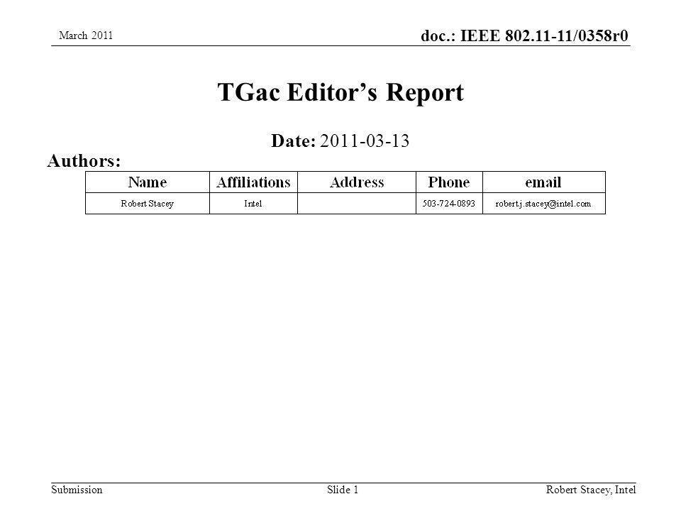 doc.: IEEE 802.11-11/0358r0 SubmissionRobert Stacey, Intel TGac Editor's Report Date: 2011-03-13 Authors: Slide 1 March 2011