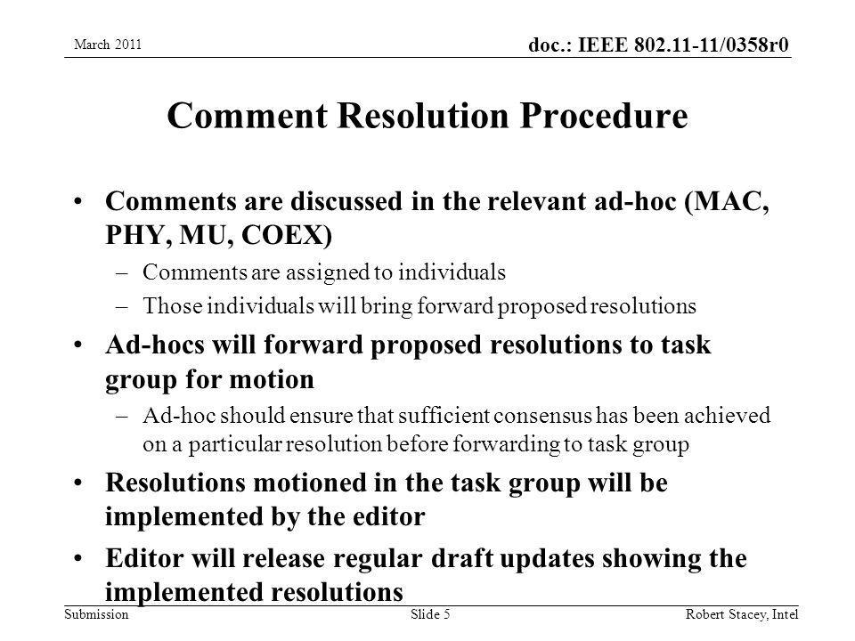 doc.: IEEE 802.11-11/0358r0 Submission Comment Resolution Procedure Comments are discussed in the relevant ad-hoc (MAC, PHY, MU, COEX) –Comments are assigned to individuals –Those individuals will bring forward proposed resolutions Ad-hocs will forward proposed resolutions to task group for motion –Ad-hoc should ensure that sufficient consensus has been achieved on a particular resolution before forwarding to task group Resolutions motioned in the task group will be implemented by the editor Editor will release regular draft updates showing the implemented resolutions March 2011 Robert Stacey, IntelSlide 5