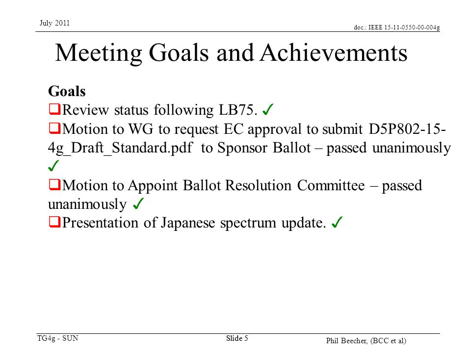 doc.: IEEE 15-11-0550-00-004g TG4g - SUN July 2011 Phil Beecher, (BCC et al) Slide 5 Meeting Goals and Achievements Goals  Review status following LB75.