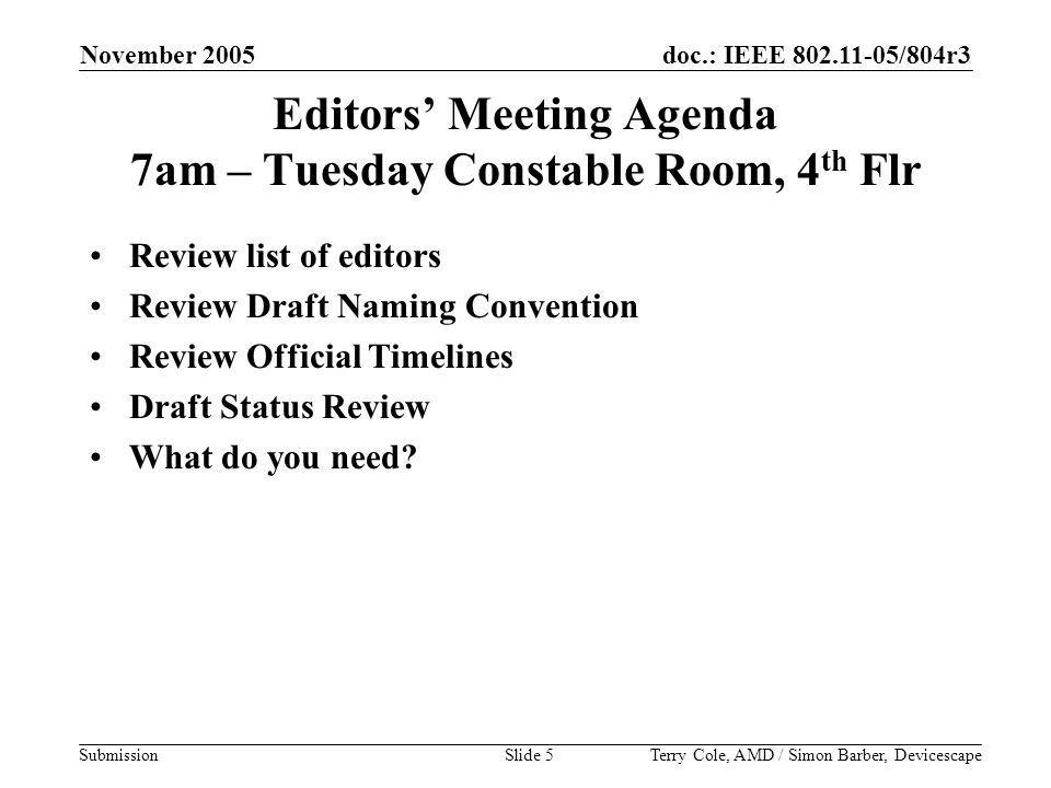 doc.: IEEE 802.11-05/804r3 Submission November 2005 Terry Cole, AMD / Simon Barber, DevicescapeSlide 5 Editors' Meeting Agenda 7am – Tuesday Constable Room, 4 th Flr Review list of editors Review Draft Naming Convention Review Official Timelines Draft Status Review What do you need