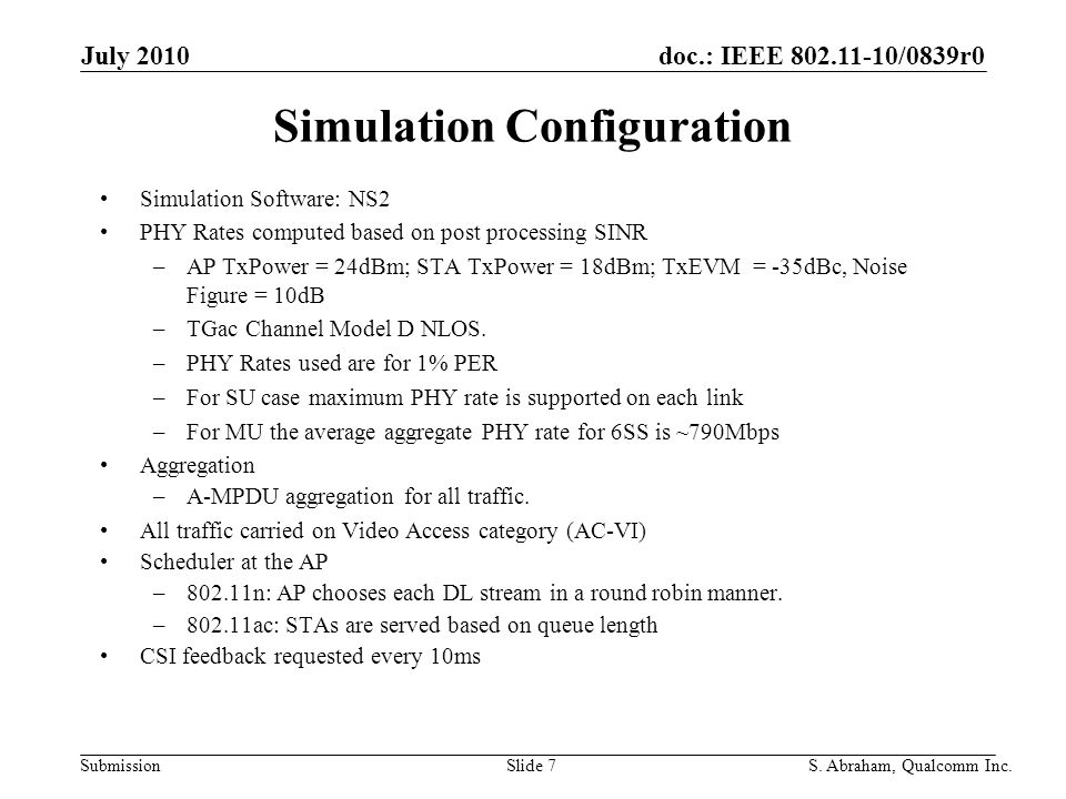 doc.: IEEE /0839r0 Submission Slide 7S. Abraham, Qualcomm Inc.