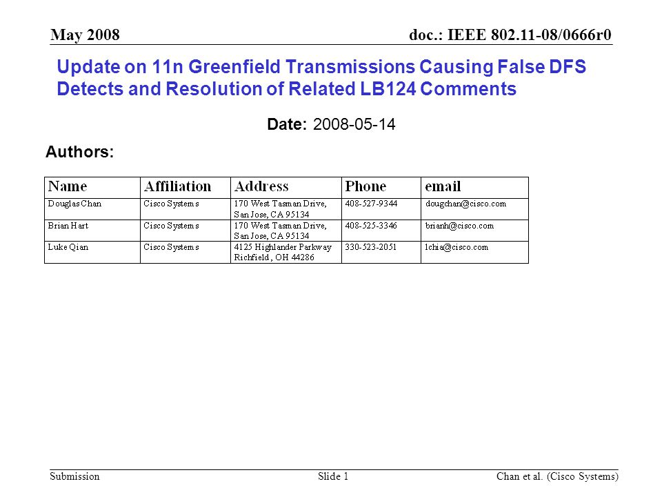 doc.: IEEE 802.11-08/0666r0 Submission May 2008 Chan et al.