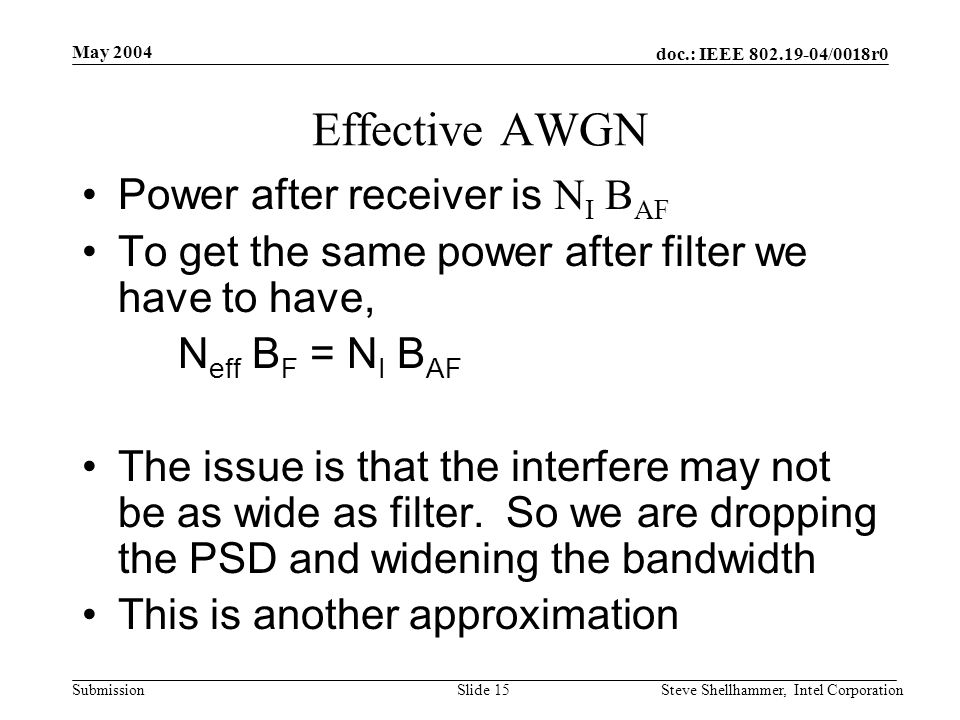 doc.: IEEE /0018r0 Submission May 2004 Steve Shellhammer, Intel CorporationSlide 15 Effective AWGN Power after receiver is N I B AF To get the same power after filter we have to have, N eff B F = N I B AF The issue is that the interfere may not be as wide as filter.