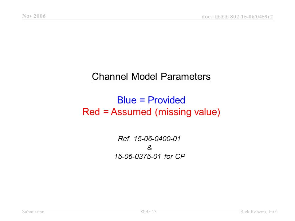 doc.: IEEE 802.15-06/0459r2 Submission Nov 2006 Rick Roberts, IntelSlide 13 Channel Model Parameters Blue = Provided Red = Assumed (missing value) Ref.