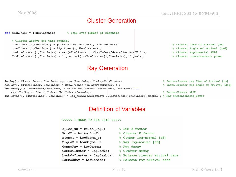 doc.: IEEE 802.15-06/0459r2 Submission Nov 2006 Rick Roberts, IntelSlide 19 Cluster Generation Ray Generation Definition of Variables