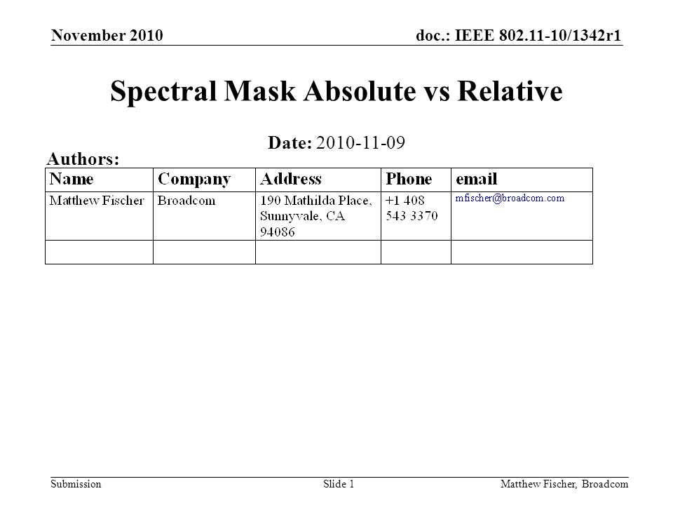 doc.: IEEE 802.11-10/1342r1 Submission November 2010 Matthew Fischer, BroadcomSlide 1 Spectral Mask Absolute vs Relative Date: 2010-11-09 Authors: