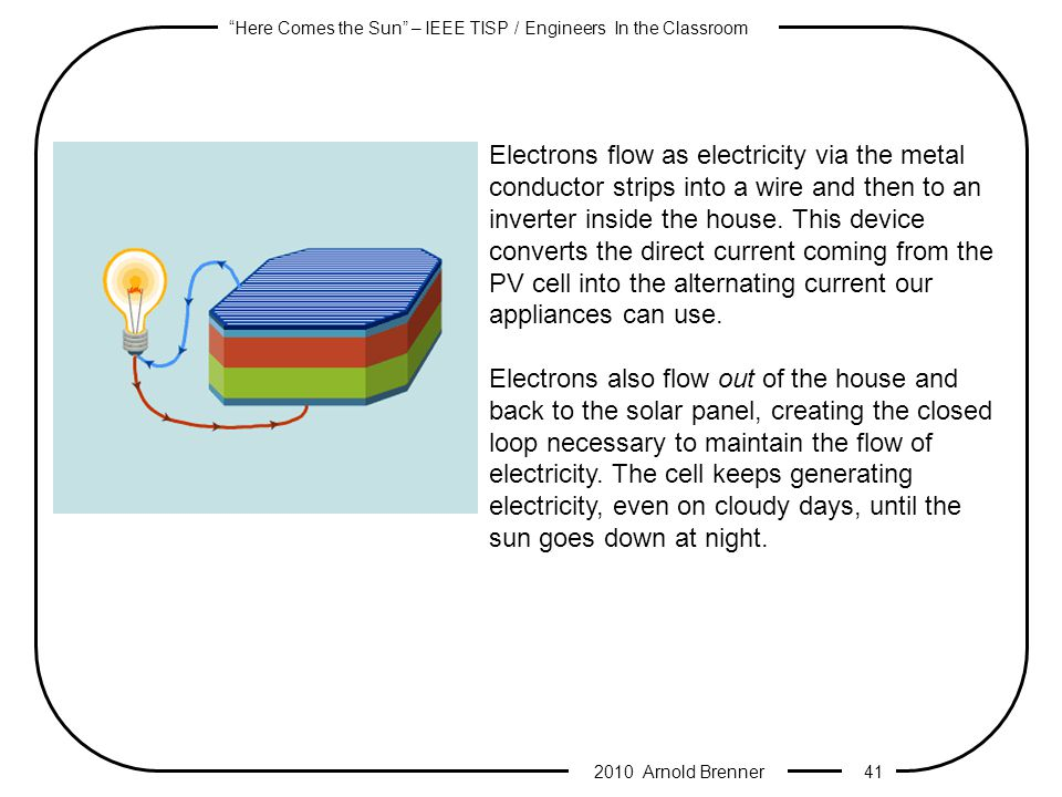 Here Comes the Sun – IEEE TISP / Engineers In the Classroom 2010 Arnold Brenner 40 As sunlight hits the cell, its photons begin knocking loose electrons in both silicon layers.