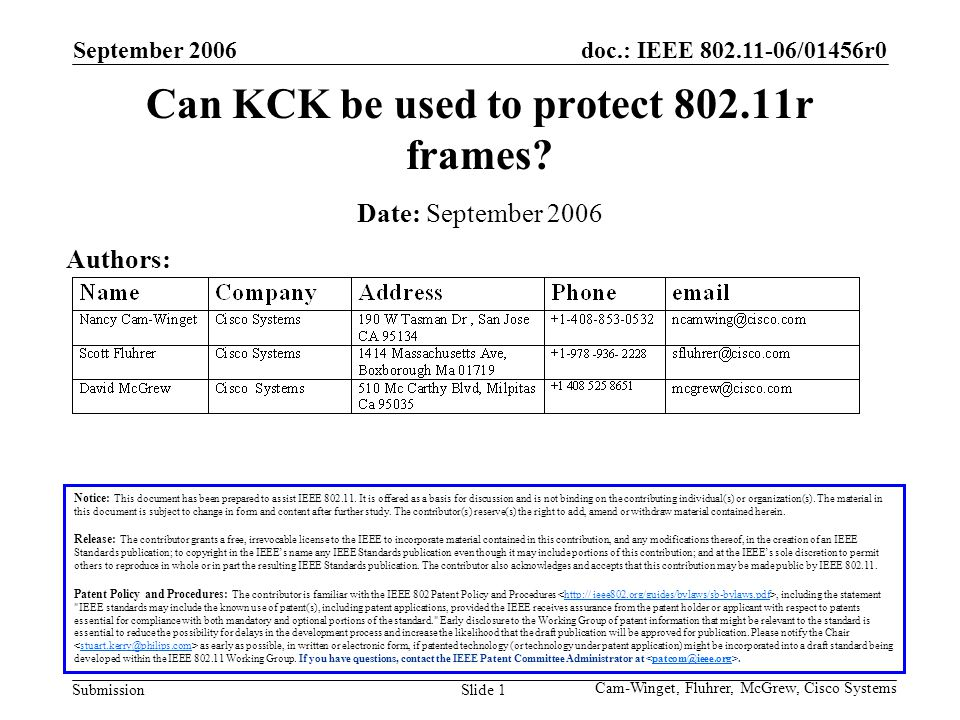 doc.: IEEE 802.11-06/01456r0 Submission September 2006 Cam-Winget, Fluhrer, McGrew, Cisco Systems Slide 1 Can KCK be used to protect 802.11r frames.