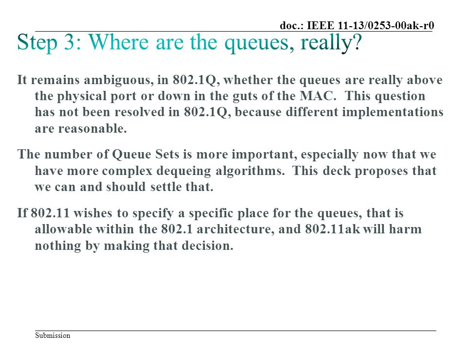 Submission doc.: IEEE 11-13/0253-00ak-r0 It remains ambiguous, in 802.1Q, whether the queues are really above the physical port or down in the guts of the MAC.