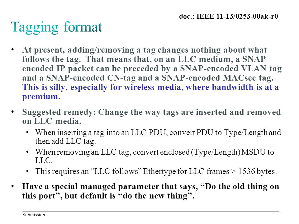 Submission doc.: IEEE 11-13/0253-00ak-r0 At present, adding/removing a tag changes nothing about what follows the tag.