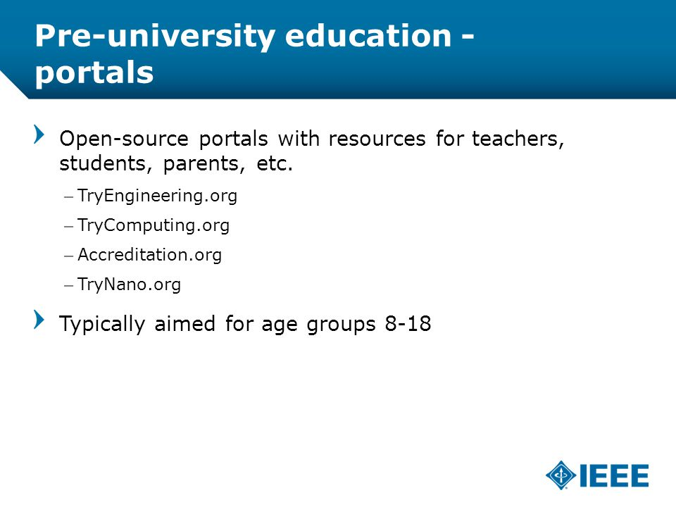 12-CRS-0106 REVISED 8 FEB 2013 Pre-university education - portals Open-source portals with resources for teachers, students, parents, etc.