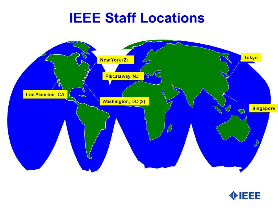 IEEE Staff Locations New York (2) Piscataway, NJ Washington, DC (2) Los Alamitos, CA Singapore Tokyo