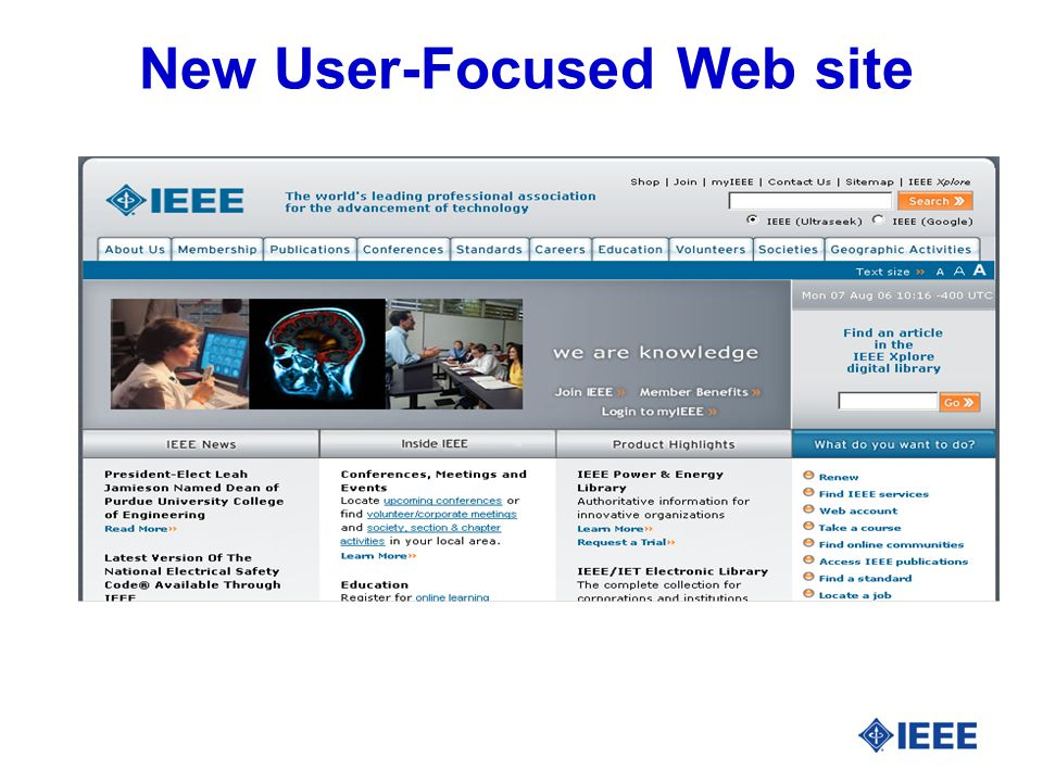 New User-Focused Web site