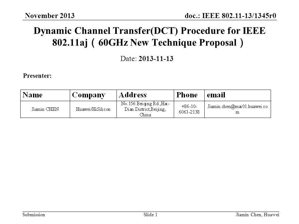 doc.: IEEE /1345r0 Submission November 2013 Jiamin Chen, HuaweiSlide 1 Dynamic Channel Transfer(DCT) Procedure for IEEE aj ( 60GHz New Technique Proposal ) Date: Presenter: