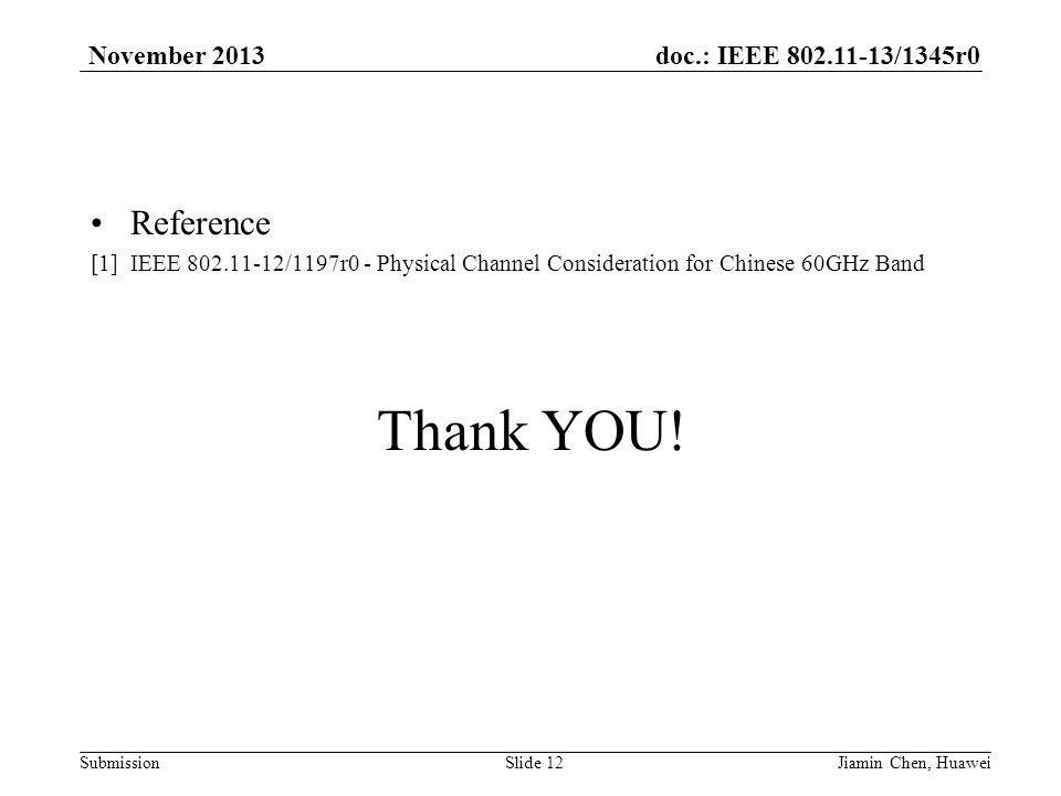 doc.: IEEE /1345r0 Submission November 2013 Reference [1] IEEE /1197r0 - Physical Channel Consideration for Chinese 60GHz Band Thank YOU.