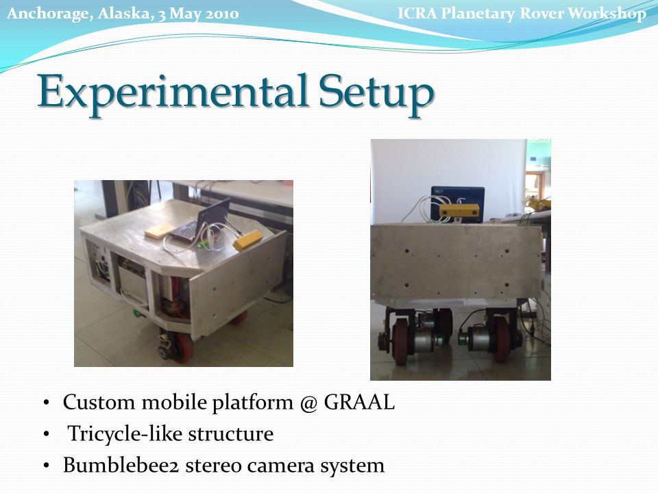 Experimental Setup ICRA Planetary Rover WorkshopAnchorage, Alaska, 3 May 2010 Custom mobile platform @ GRAAL Tricycle-like structure Bumblebee2 stereo camera system