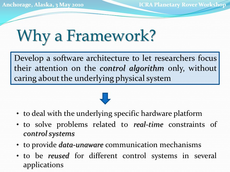 to deal with the underlying specific hardware platform real-time control systems to solve problems related to real-time constraints of control systems data-unaware to provide data-unaware communication mechanisms reused to be reused for different control systems in several applications control algorithm Develop a software architecture to let researchers focus their attention on the control algorithm only, without caring about the underlying physical system ICRA Planetary Rover WorkshopAnchorage, Alaska, 3 May 2010 Why a Framework
