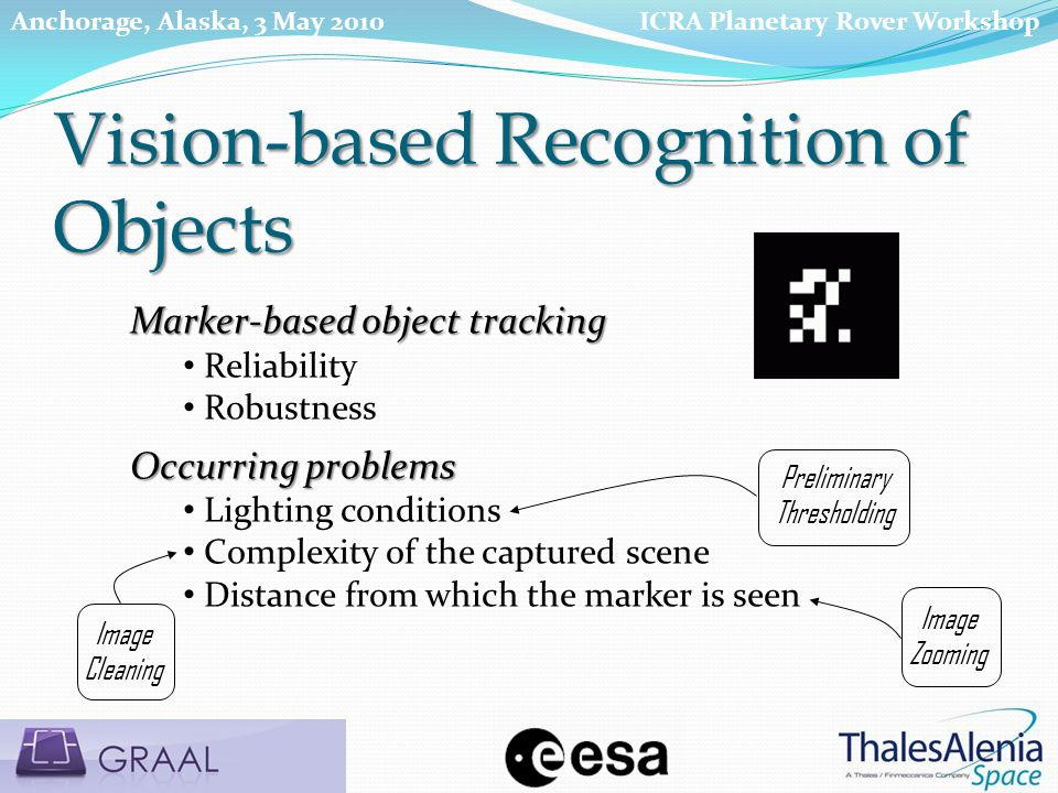 Vision-based Recognition of Objects Marker-based object tracking Reliability Robustness Occurring problems Lighting conditions Complexity of the captured scene Distance from which the marker is seen Preliminary Thresholding Image Cleaning Image Zooming ICRA Planetary Rover WorkshopAnchorage, Alaska, 3 May 2010