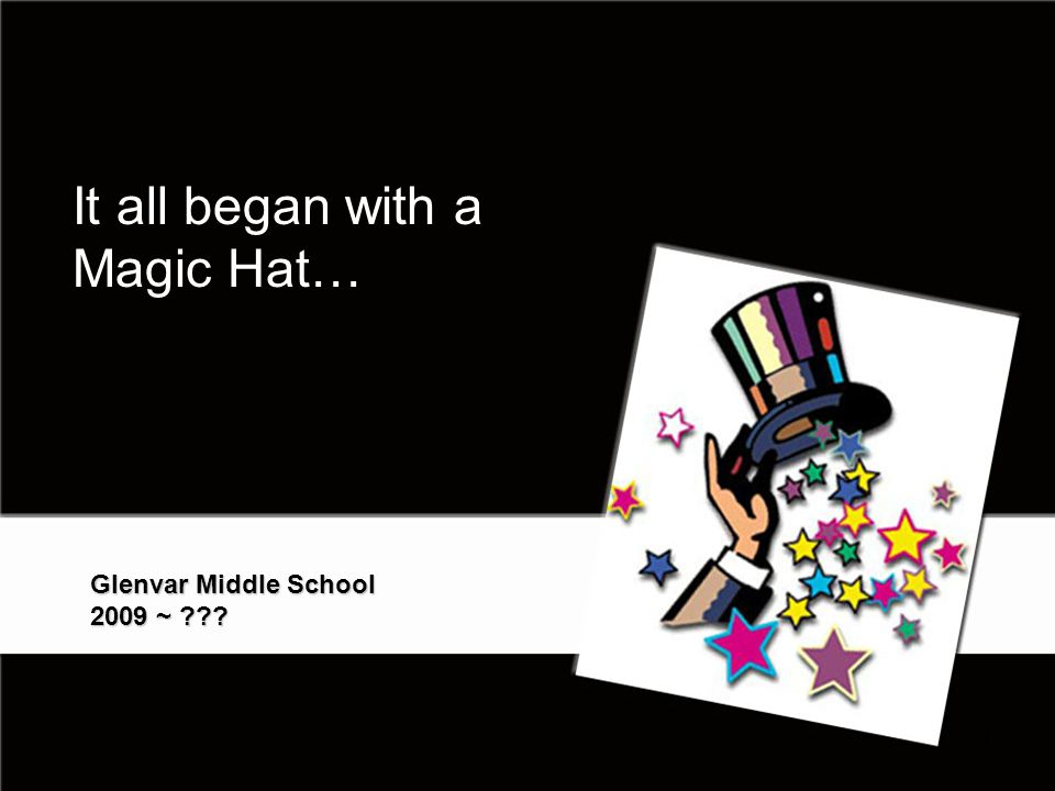 It all began with a Magic Hat… Glenvar Middle School 2009 ~ 1