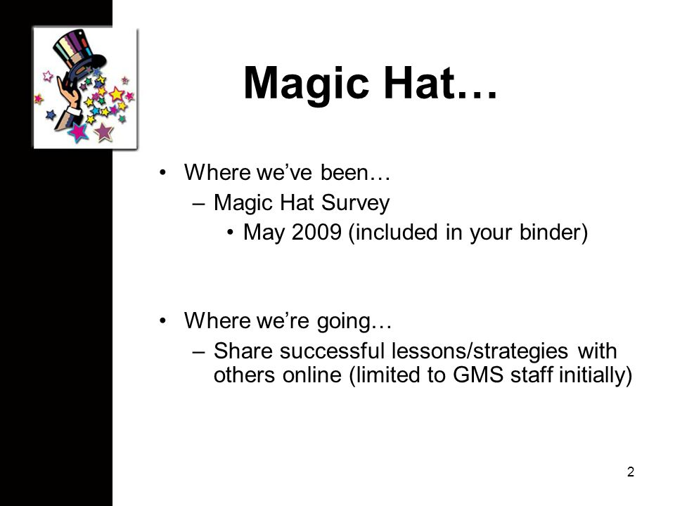 Magic Hat… Where we've been… –Magic Hat Survey May 2009 (included in your binder) Where we're going… –Share successful lessons/strategies with others online (limited to GMS staff initially) 2