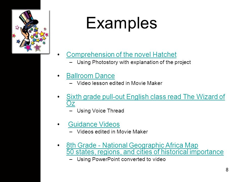 Examples Comprehension of the novel HatchetComprehension of the novel Hatchet –Using Photostory with explanation of the project Ballroom Dance –Video lesson edited in Movie Maker Sixth grade pull-out English class read The Wizard of OzSixth grade pull-out English class read The Wizard of Oz –Using Voice Thread Guidance Videos –Videos edited in Movie Maker 8th Grade - National Geographic Africa Map 50 states, regions, and cities of historical importance8th Grade - National Geographic Africa Map 50 states, regions, and cities of historical importance –Using PowerPoint converted to video 8